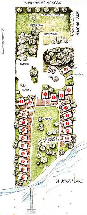 Showing the layout of the resort with cottages in horseshoe shaped arrangement aroung greenspace facing the Lakefront.