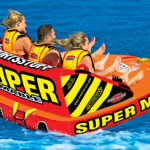 Red white and yellow Super Mable Towable boating toy
